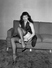 Bettie Page Up Skirt adjusting shoe strap black stockings  5 x 7 Photograph