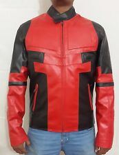 Men's Celebrity Ryan Reynolds Deadpool Red and Black Movie Leather Jacket