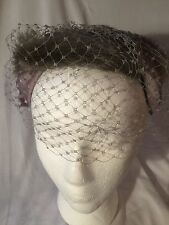 Vintage 1940S Ladies Genuine Mink Fur Hat With Silk Bow And Netting-stylish!