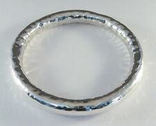 """925 sterling silver small size hollow tube bangle hammered finish 5/16"""" wide"""