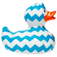 Designer Blue & White Zig Zag Deluxe Bath Time Rubber Duck By Bud