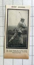 1915 Mr Lloyd George Relaxing At Golf Before Presents Licensing Restriction Bill