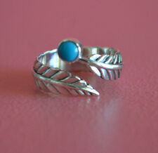 925 Sterling Silver Adjustable Leaf Wrap Ring w/ Turquoise Reconstructed Stone