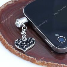 3.5mm Black Crystal Heart Anti Ear Cap Plug Dust Stopper For iPhone Samsung HTC
