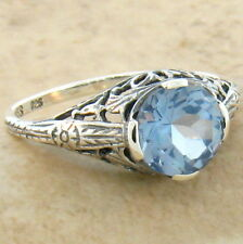 1.5 CT SIM AQUAMARINE ANTIQUE DESIGN 925 STERLING SILVER RING SIZE 10,      #647