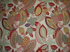 """COWTAN AND TOUT CURTAIN FABRIC DESIGN """"Fortunato"""" 3 METRES RED ROSE AND CREAM"""