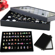 100 Slots Ring Earring Velvet Jewelry Display Stand Tray Holder Organizer Rack