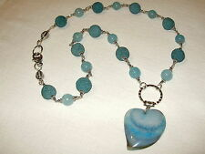 COLLANA AZZURRA IN GIADA, AGATA, LAVA - SKY BLUE JADE, LAVA ROCK, AGATE NECKLACE