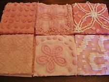 "36 VINTAGE CHENILLE BEDSPREAD 6"" SQUARES FLOWER QUILT KIT PINK BABY"