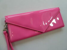 Marc by Marc Jacobs Hot Neon Pink Patent Wristlet Mini Clutch Wallet Purse
