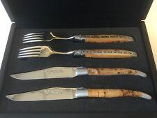 Laguiole en Aubrac Steakmesser -Set , 2 Stk.Messer und Gabeln, Wacholder