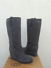 UGG TALL SOLEIL GRAY OILED SUEDE/ SHEEPSKIN WEDGE BOOTS, US 9.5/ EUR 40.5 ~NEW