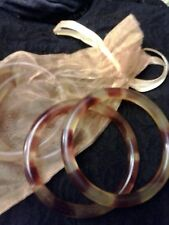 Talbots NIP $44 Pair Bangle Bracelets  of Tortoise Shell Golden Brown