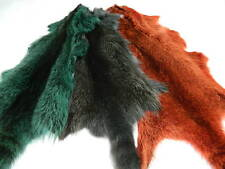 TANNED DARK GREEN  RACCOON FUR SKIN PELT DYED DESIGN WITH TAIL