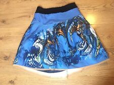 Prada Pleated Patterned Blue Skirt Size 8-10