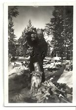 WWII German RP- Army Soldier- Uniform- Cuts Firewood- Winter Fur Hat- Snow- 40s