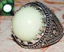 WOW arabic 925 sterling silver men ring Natural green lightning in dark stone