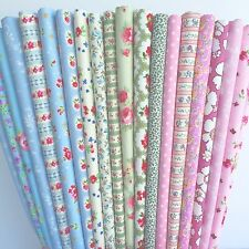 20 piece shabby chic 100 % cotton small piece fabric bundle 25cm x 25cm