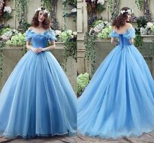 Cosplay Costume Cinderella Ella Blue Wedding Dresses Princess Bridal Gowns