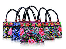 Chinese Ethnic Retro Canvas Embroidered Floral Shoulder Bag Women Handbag Pouch