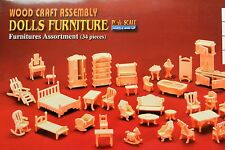 34 PIECE FURNITURE KIT in 24th SCALE FOR DOLLS HOUSE, BRAND NEW