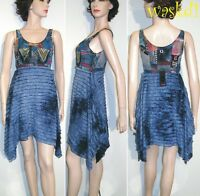 SAVE THE QUEEN blue M RUFFLED skirt PATCHWORK bodice dress NWT Authentic!