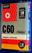 BASF LH SM C 60 BLANK AUDIO COMPACT CASSETTE TAPE - RIGHT HINGED
