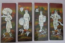 4 Asian Black Lacquer painted Wall Panels plaque Picture Mother of Pearl Abalone