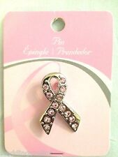 BREAST CANCER AWARENESS Pink Ribbon CRYSTAL ACCENTED SILVER PIN