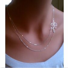 Fashion Women Double Chain Choker Bib Silver Leaves Necklace Pendant Jewelry New