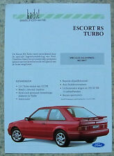 Ford escort rs turbo voiture sales leaflet 1990 texte néerlandais