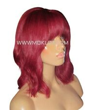 "Glueless Remy Human Hair Wig Full Lace 12"" Bob Burgundy Bug Red Fringe Bangs UK"