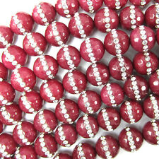 "10mm faceted ruby red jade round beads inlaid with rhinestone 7.5"" strand"