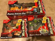 LOT 3 Micro Machines Sets NEW Chemical Clean-Up Mission Tank Raging Inferno City