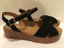 Steve Madden Senona Wedge Sandals Platform Flats Suede Black 13 M