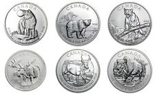 2011 2012 2013 Canada Wild Life UNC Complete Box Set 6x 1oz SILVER  .9999 coins