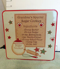 "Christmas Tin,Collectible,""Grandma's Special Sugar Cookies"",Has Recipe"