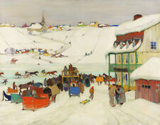 Gagnon Clarence Horse Racing In Winter Quebec Print 11 x 14   #4204