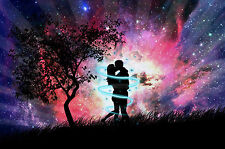 Framed Print - Two Lovers Kissing Under a Tree (Picture Romance Sensual Art)