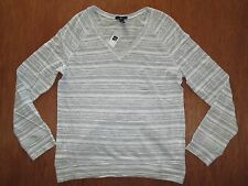 Gap Women's Striped L/S V-Neck Lightweigth Top Light Gray/White Sz XS $32.99 NWT