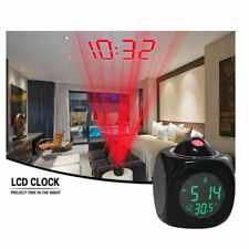 Digital Vibe LCD Talking Projection Alarm Clock Time Temperature Display Gift