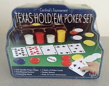 CARDINAL'S TOURNAMENT - TEXAS HOLD'EM POKER SET - IN METAL CONTAINER - NEW/SEALE
