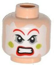 LEGO - Minifig, Head Face Paint, Red Lips & Eyebrows, Green Cheeks Angry Pattern