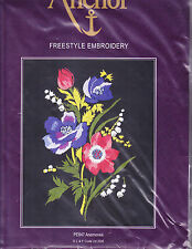 Embroidery Kit:  Anemones Freestyle Embroidery on Black Fabric