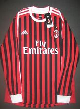Authentic 2011-2012 Adidas AC Milan Long Sleeve Home Jersey Shirt Kit Maglia L