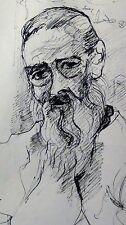 JEAN de GAIGNERON MORIN(1890-1976,PARIS)ORIGINAL INK DRAWING PORTRAIT OF OLD MAN