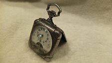 Antique Scare Hebdomas 8 days Gun metal square deco case Pocket Watch Swiss