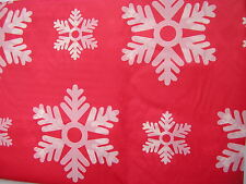 "christmas table cloth 54"" x 72"",plastic red and white snow flake design"