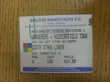 26/09/1998 Ticket: Bolton Wanderers v Huddersfield Town. Any faults are noted in
