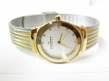 Skagen Womens Two-Tone Stainless Steel Mesh Crystal Accented Watch - SKW2082
